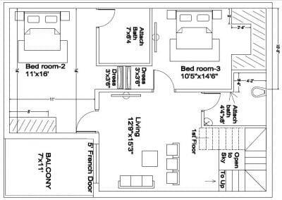 30X40 DUPLEX HOUSE PLAN