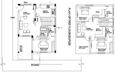 30X50 DUPLEX HOUSE PLAN 3BHK