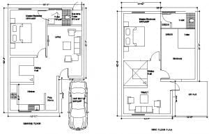 30 x 45 ft site Ground floor &1st floor with a car parking