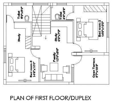 30X50 DUPLEX HOUSE PLAN First floor