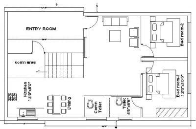 30×40 south face house plan first floor plan