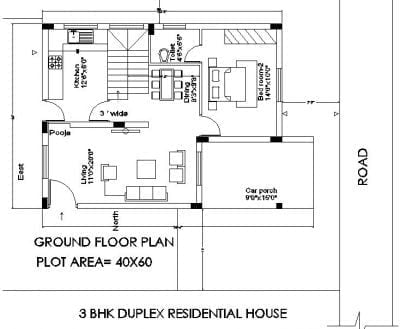 30X50 DUPLEX HOUSE PLAN Ground floor