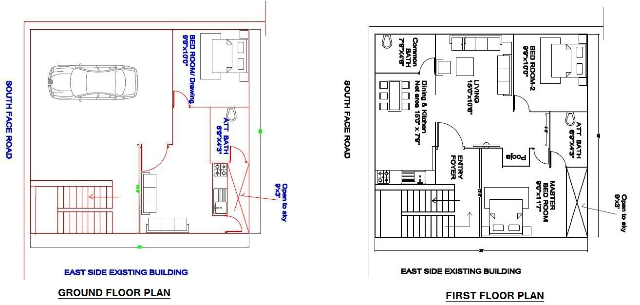 30'X37' PLOT  SOUTH FACE PLOT_GROUND AND FIRST FLOOR HOUSE FLOOR-schematic drawing