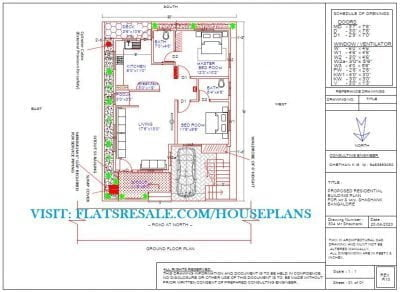 30x40 house plan north face plot 2bhk 1 car parking
